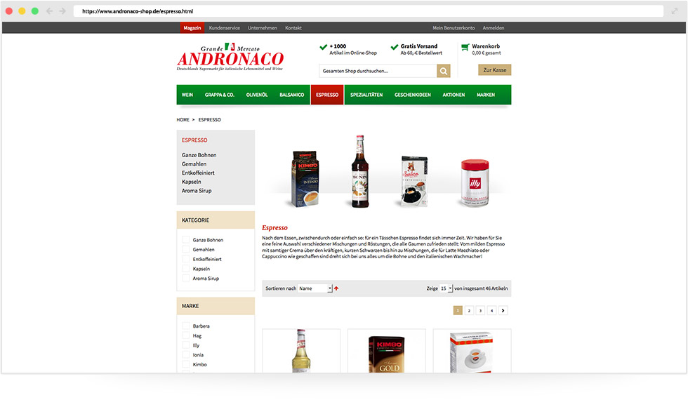 Online Shop für Feinkostanbieter 🍷 | Referenz: MANDARIN MEDIEN
